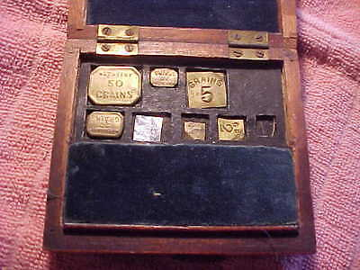 Antique Balance Gold Scale Weights In Original Wood Case