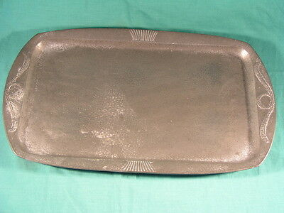 Hutton Sheffield English Pewter Tray # 1340 Arts & Crafts Hammered Beaten