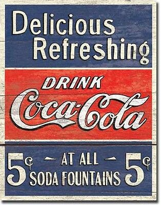 Delicious Refreshing Coca Cola TIN SIGN wood look bar decor metal poster DS#1619