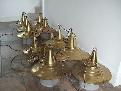 Vintage 13 x Industrial Brass Frosted Glass Ceiling / Pendant Lights Job Lot