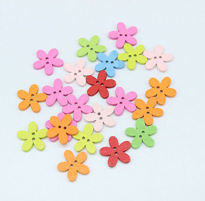200PCs Wood Buttons Sewing Scrapbooking Flowers Shaped 2 Holes Mixed 15*15mm Y01