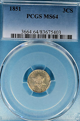 1851 Three Cent Silver PCGS MS64- Type 1, Small Star, Sharp First Year Example