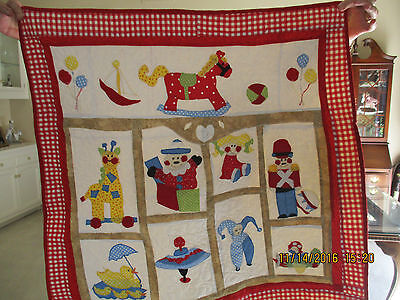 """Homemade baby quilted and appliqued quilt  32"""" X 32"""" new"""