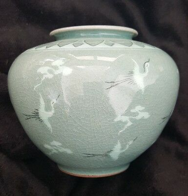 Antique Korean Joseon Porcelain Signed Vase Celadon Green White Slip Cranes Old