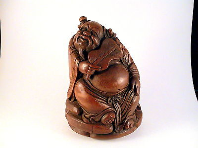 Chinese Bamboo Statue Of A Happy Sage