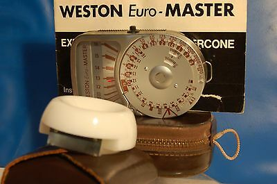 WESTON EURO-MASTER LIGHT METER with INVERCONE+CASE/STRAP VERY NICE CONDITION