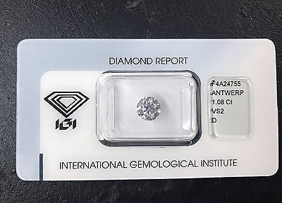 Diamante Diamond IGI (hrd gia) certificato Warranty 1,08 D VS2 new garanzia