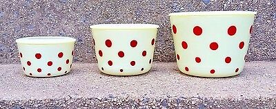 Vintage Mckee Custard Glass With Red Dots 6 Piece Canister Set Mint Condition