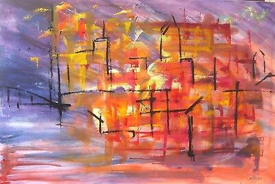 CITY LARGE ORIGINAL OIL PAINTING on Canvas Picture Modern signed Abstract Art