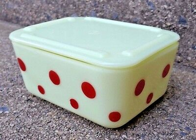 "Vintage Mckee Custard Glass With Red Dots 5"" X 4"" Fridge Dish W/ Lid Excellent"