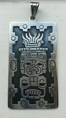 HUGE Oxidised Double-Sided Sterling Mayan Inca Aztec Pendant Pre-Dates Taxco