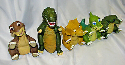 Vintage 1988 80's Land Before Time Ducky Cera Sharptooth dinosaur puppets set 5