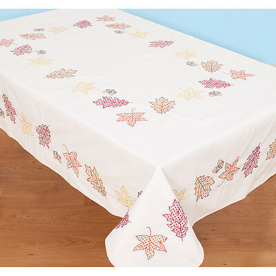 "Stamped White Table Cloth 50""X70""-Fall Leaves"