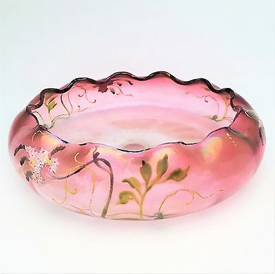 Optic Ribbed French/American bowl w/enameled flowers