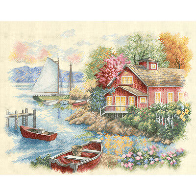 "Peaceful Lake House Counted Cross Stitch Kit-14""X11"""