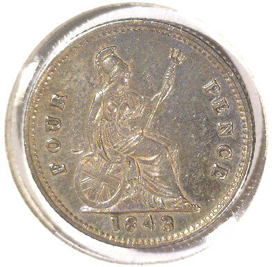 Groat Great Britain Silver 4 pence Coin 1843 KM#731.1 .0895 ASW  Blue Lot