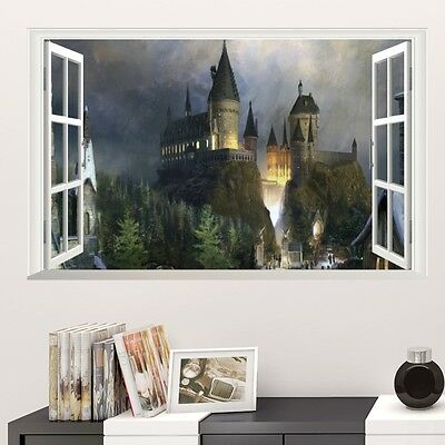 Harry Potter Poster 3D Window Decor Hogwarts Decorative Wall Stickers