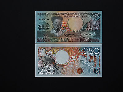 SURINAME BANKNOTES  250 GULDEN  p134  DATE 1988  BEAUTIFUL MINT UNC NOTES
