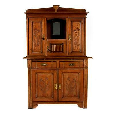 Hand-Carved Walnut German Schrank (cupboard, hutch, cabinet) Shrank