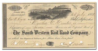 South Western Rail Road Company Stock Certificate (Georgia, 1880's)
