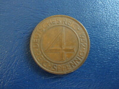 1932A Weimar German Bronze 4 Pfg Coin-VG Condition Own a piece of History 17-121