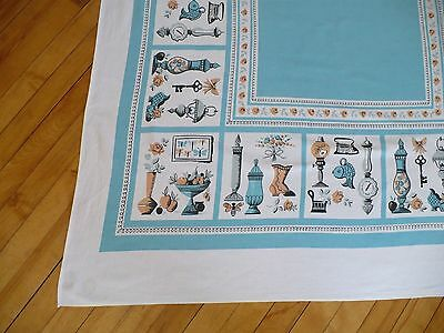 Vintage Tablecloth Turquoise Blue Peach Grey 1950s Antique Houseware Theme 46x53