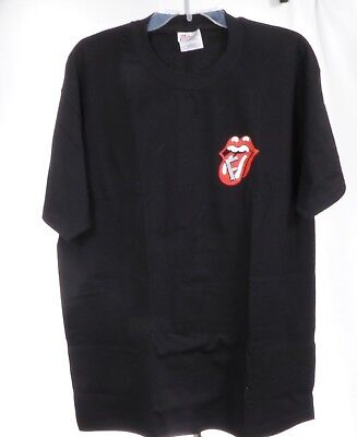 "Rolling Stones Black T-Shirt XL Tongue with Striped ""F"""