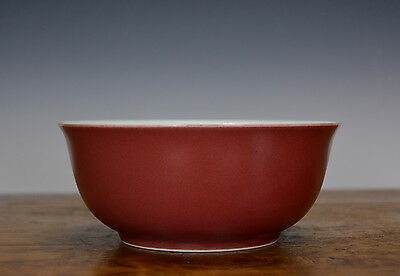 Fine Big Chinese Sand de Boeuf Red Glazed Porcelain Bowl From Qing Royal Kitchen