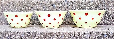 Vintage Mckee Custard Glass With Red Dots Bell Bowl 3 Piece Set Good Condition