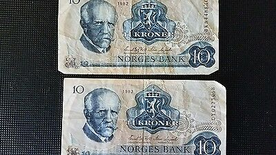 Norges Bank Notes Two 1982 10 Kroner