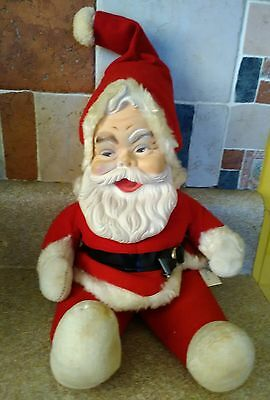 Vintage Rushton Creation Red Outfit Rubber Face Santa Claus Figure Doll 18""