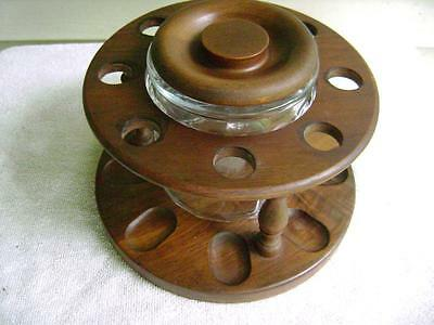 Vintage 8 Pipe Rack Wood Holder with Clear Glass Tobacco Jar