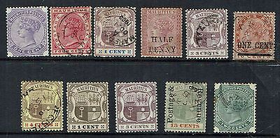 Collection of Mauritius stamps, includes Queen Victoria, coat of arms, overprint