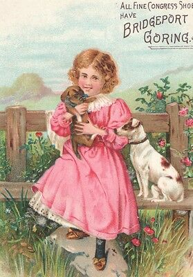 Victorian Tradecard Girl w/Puppy Dog Congress Shoes have BRIDGEPORT GORING