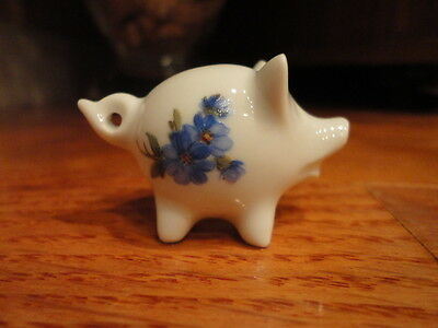 Miniature Porcelain Pig Figurine Vintage Country Decor White & Green