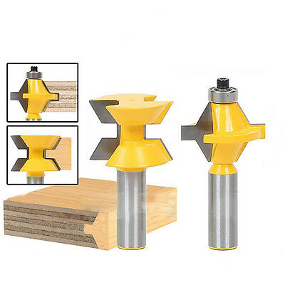 "TOP 2PCS Router Bit Set 120° 1/2"" Shank Woodworking Groove Chisel Cutter Tool"