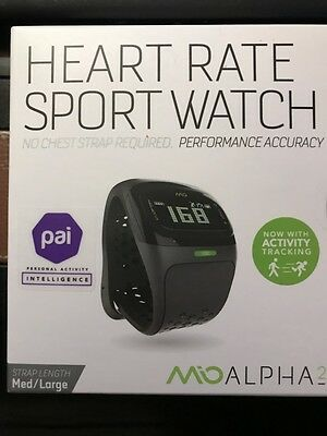New Mio ALPHA 2 Heart Rate Monitor +Act Tracker+ Sport Watch Med/Lrg 58P-Blk
