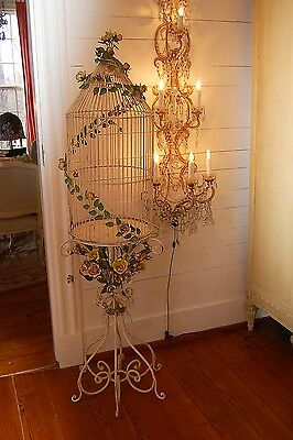 Stunning HUGE Italy Italian Antique Iron Tole Roses Swags Birdcage