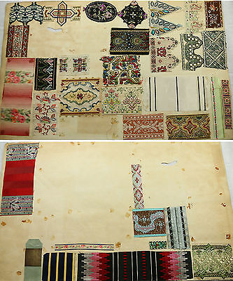 Antique French silk woven RIBBON TRIM fabric samples 1900s fabulous assortment