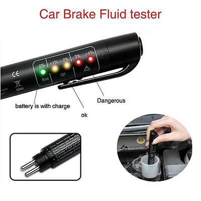 Brake Fluid Tester LED Moisture Water Compact Tool DOT3 4 Test Indicator Pen SM+