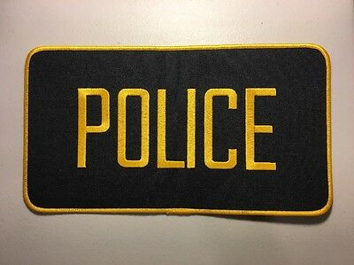 "Police Officer High Quality Embroidered Uniform Back Patch Black/Gold 12"" X 6"""