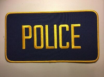 "Police Officer High Quality Embroidered Uniform Back Patch Blue/Gold 12"" X 6"""