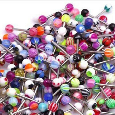 30/60pcs Mixed Color Tongue Ring Piercing Jewellery Tounge Different Barbell Bar