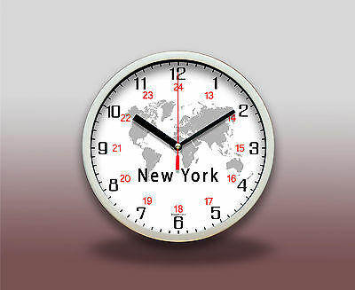 12/24hr World Global Time Zone Wall Clock Customized Location Without TICK/TACK