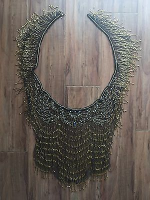 Exquisite Vintage Victorian Flapper Black Gold Rhinstone Beaded Shawl Cape Wrap