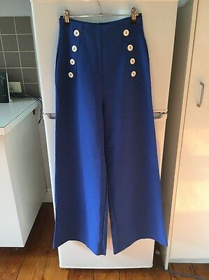 Vintage 70's Style Blue High-waisted Pants