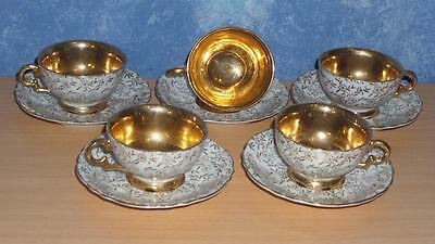 GOLD CROWN BRAND Fine China JAPAN Tea Sets 5 Cup & Saucers Floral with Gold Gilt