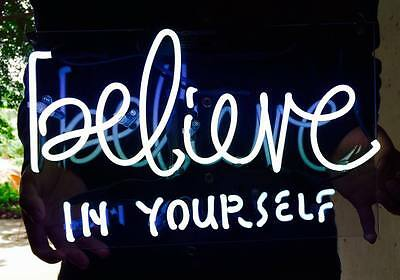 11''X7'' Believe In Yourself Neon Sign Light Beer Home Real Glass Vintage Lamp