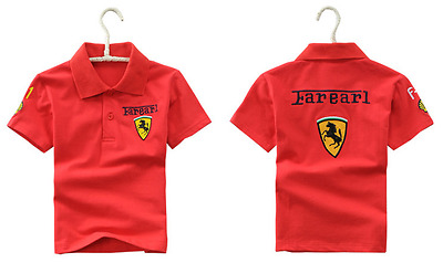 Red black children kids boys girls shell F1 racing car polo T shirt