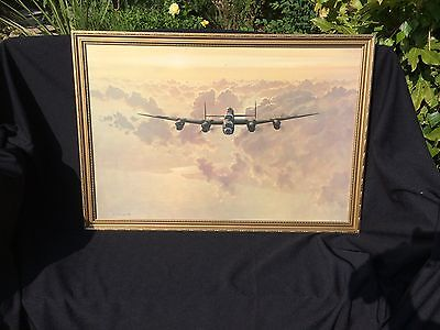"Vintage retro Framed Print 'Outbound Lancaster Bomber' Gerald Coulson 32"" x 22"""